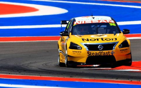 A Nissan Altima takes on Circuit of the Americas on Friday.