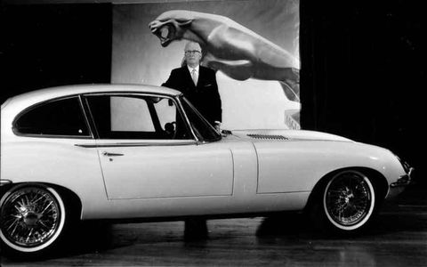 Sir William Lyons with the Jaguar E-type.