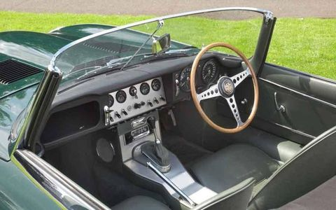 Interior of the Series 1 77RW Jaguar E-type.