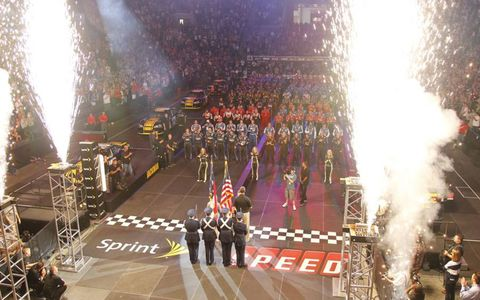 GAME ON // Teams competing in the NASCAR Sprint Cup Pit Crew Challenge gather at the Time Warner Cable Arena in Charlotte.