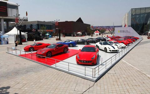 An outdoor display at the Ferrari Myth Exhibition in Shanghai, China.