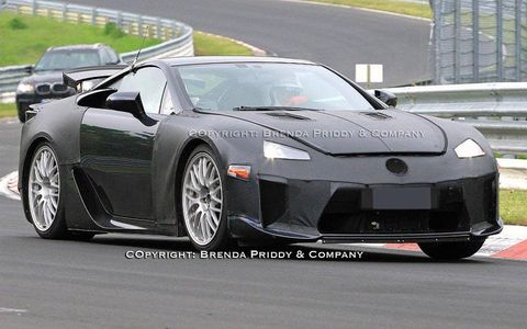 A future Lexus supercar is shown during testing at the Nurburgring.