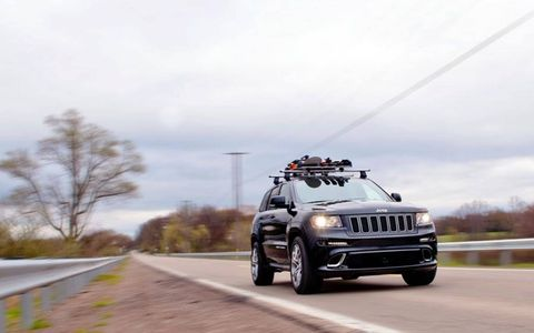In SRT trim, Jeep upgrades the engine to a Godzilla-level 6.4-liter, 470-hp, 465-lb-ft V8, hooked to a paddle-shifted five-speed automatic transmission sending power to all four wheels via Jeep's Moab-tested Quadra-Trac four-wheel-drive system.