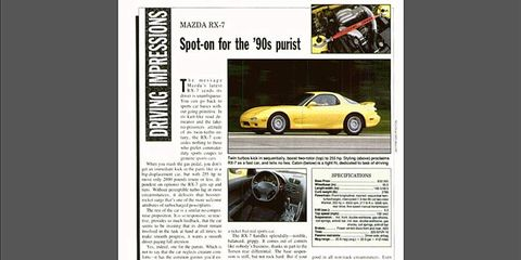 AutoWeek's original third-gen RX-7 review, published in 1992.