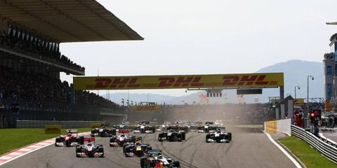 Sebastian Vettel in his Red Bull Racing RB7 leads the field into turn one during the start of the Turkish Grand Prix, May 8. Photo by: Andy Hone LAT Photographic