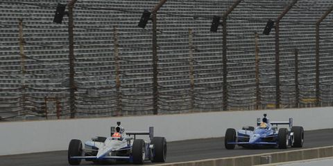 James Hinchcliffe and Oriol Servia fly down the front stretch of the Indianapolis Motor Speedway during practice for the 100th Anniversary Indy 500 on May 29. Photo by: Dan R. Boyd LAT Photo