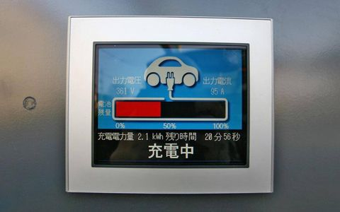 Mitsubishi claims a 100-mile range from full charge, but driving the car normally in stop-and-go city traffic saw the power level drop precipitously, pushing the car into a more realistic 50- to 60- mile range. Pictured is the battery's 16-bar state-of-charge gauge.
