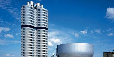 """The """"Bowl,"""" reserved for special exhibits, sits beside the BMW headquarters building in Munich. It's part of an addition--mostly underground--that has quintupled the museum's space."""