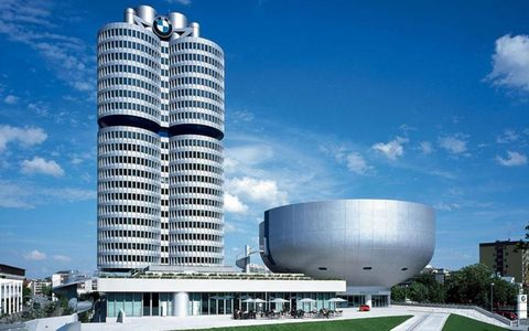 "The ""Bowl,"" reserved for special exhibits, sits beside the BMW headquarters building in Munich. It's part of an addition--mostly underground--that has quintupled the museum's space."