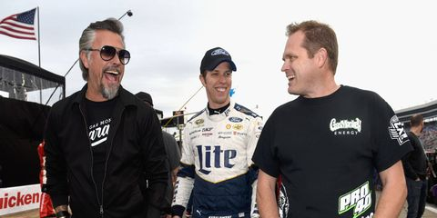 """On a recent swing through Texas, Brad Keselowski upped his """"car guy"""" cred with a stop by the Gas Monkey Garage in Dallas."""