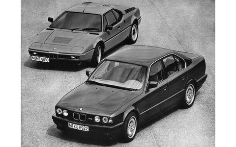 A BMW M1 lurks behind a BMW E34 saloon.