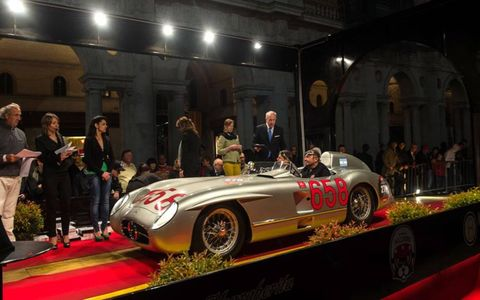 Jochen Mass with a 1955 Mercedes-Benz 300 SLR in Vicenza