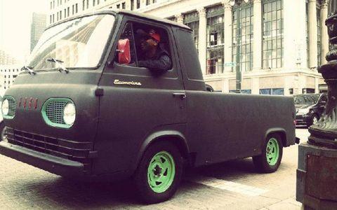 """Shades riding around Detroit in """"Mattie,"""" his beloved 1967 Ford Econoline pickup."""