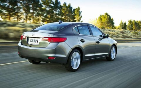 A rear view of the 2013 Acura ILX.