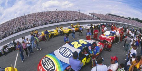 Sam Bass designed the No. 24 Rainbow Warriors-themed car for Jeff Gordon in the 1990s.