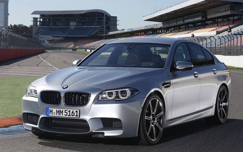 The BMW M5 features a 4.4L twin-turbo V-8 that producing 560 hp. The Competition Package raises it to 575 hp