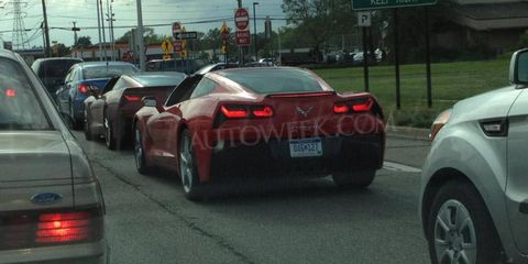 Two C7 Stingray's on public Michigan roads. The twins appear to be in production form