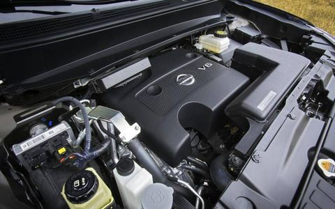 The 2013 Nissan Pathfinder SL is equipped with a 3.5-liter V6 mated with a continuously variable transmission.