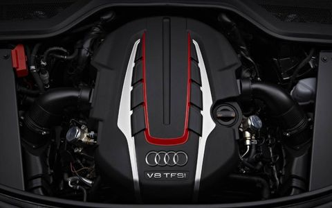 The 2013 Audi A8 L 4.0T is equipped with a 4.0-liter turbocharged V8.