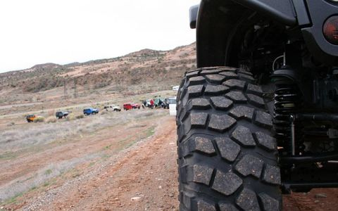 The Jeeps in line at the Moab Easter Jeep Safari.
