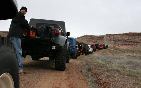 The Jeeps prepare for the trail.