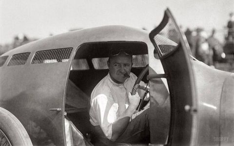 Speed pioneer Barney Oldfield in the Golden Submarine.