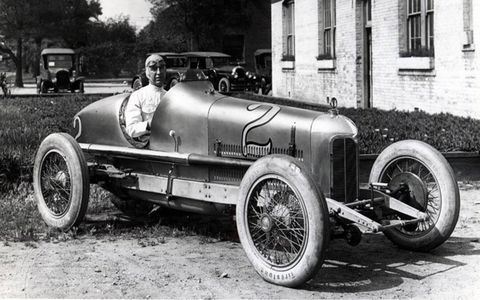 Driver Jimmy Murphy behind the wheel of a Miller 122.