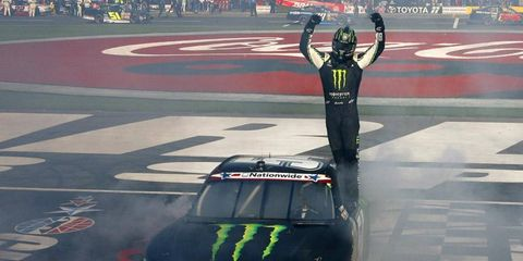 Kyle Busch celebrates after big Nationwide win in Charlotte.