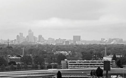 The view from atop the Speedway's Pagoda over the turn-two suites and the Brickyard Crossing golf course toward downtown Indianapolis, five miles away.