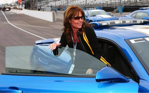 Sarah Palin found her way to pit lane on Saturday and the Chevrolet Corvette pace car for the Indianapolis 500.