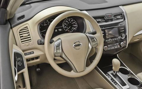 The steering wheel of the 2013 Nissan Altima.