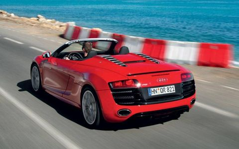 When the R8 dropped its top at the end of last year, it became one of the biggest hits at the Los Angeles Auto Show. So it's no surprise that it makes our summer-car list. A 10-cylinder, 525-hp engine doesn't hurt either. The first stop on an R8 road trip would be Mazda Raceway Laguna Seca, then Laguna Beach.