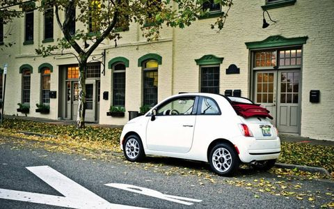 A rear view of our long-term 2012 Fiat 500 C.