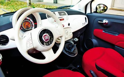 The interior of the 2012 Fiat 500 C.