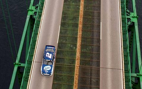 Brad Keselowski takes a slow-speed ride on Michigan's famed Mackinac Bridge.