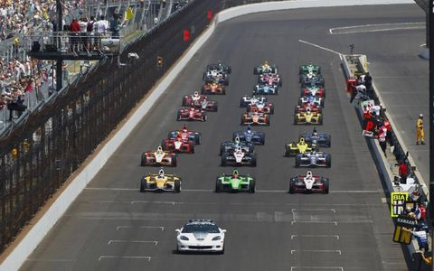 2012 Indy 500: The field is aligned is rows of three on the parade lap.