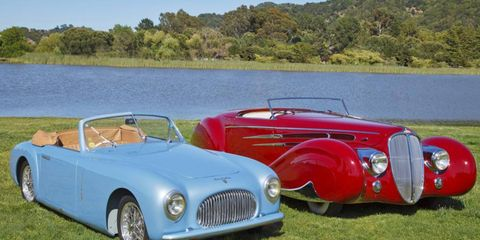 1947 Cicitalia 202 Cabriolet, left, won Marin Sonoma Concours de Sport. A 1939 Delahaye Type 165, right, from the Mullins Collection captured Concours d'Elegance.