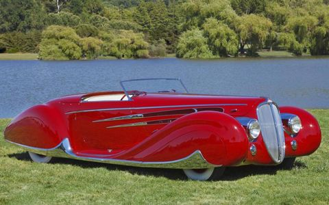 """Peter and Merle Mullins' 1939 Delahaye Type 165 Cabriolet won Marin Sonoma Best of Show """"Concours d'Elegance."""