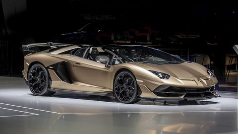 The Lamborghini Aventador SVJ Roadster debuts at the Geneva Motor Show with 759 hp.