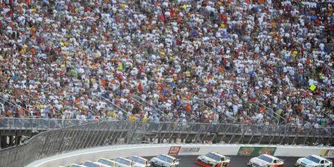 Dale Earnhardt Jr leads a restart