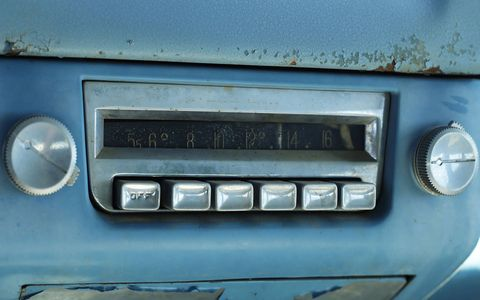 1955 DeSoto Firedome radio with CONELRAD frequency indicators