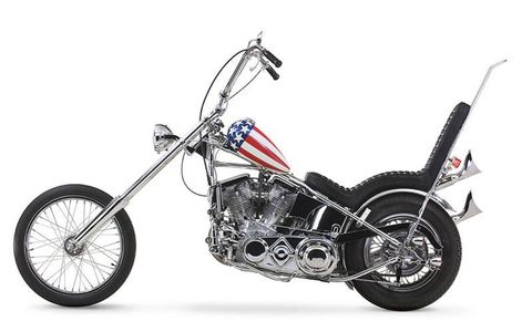 A replica of the famous Easy Rider Captain America motorcycle will appear in the Harley-Davidson Museum. While two motorcycles were built for the classic movie, neither one survived the film. In celebration of the film's 30-year anniversary an exact replica was created with the help of Peter Fonda and others who participated in building the original bikes.