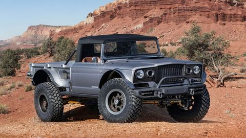 Jeep built six concepts, all pickups, ahead of the 2019 Moab Easter Jeep Safari. The Jeep Five-Quarter is a Hellcrate-powered restomodded 1968 M-715 military truck.
