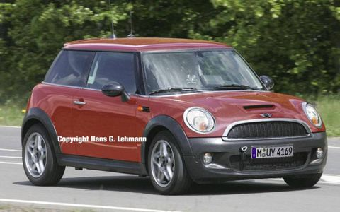 Look for a slight evolution in Mini styling when the second generation of BMW's little car debuts this fall. The new car will be slightly larger than the current generation and feature new front and rear ends. Both the headlights and taillights grow in size.