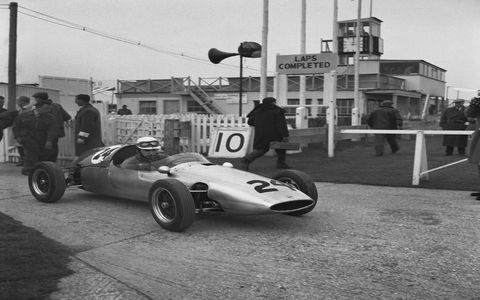 Following his retirement from motorcycle racing, Surtees hits the track at Goodwood for a Formula Junior Championship race in 1960.
