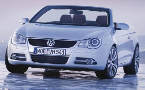 The Volkswagen Eos offers something rare in a hardtop convertible, a sunroof. Power comes from a pair of engines borrowed, like many other parts for the car, from the Passat and Golf. Both engines are from the worldwide mix of Golf and Passat powertrains—the 2.0-liter, 200-hp FSI turbo and 3.2-liter, 250-hp V6.  Because the engines fit in a Golf, the front of the car is also Golf-derived. The suspension links are from the Passat. So what you get is a sort of wide-track Golf sans roof, though the line between Passat, Golf and Eos is further blurred once you start looking under the car.
