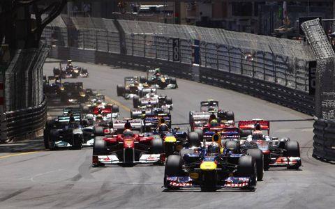 Sebastian Vettel leads at the start of the 2011 Grand Prix of Monaco on May 29. Photo by: Steve Etherington/LAT Photographic