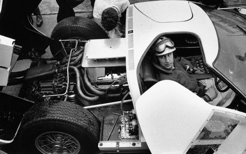 Roy Salvadori at a Le Mans test session in 1964.