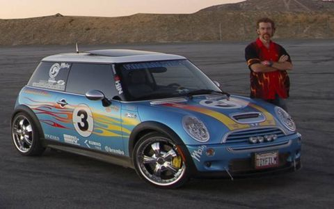 We drove two FTR Minis in various stages of build and unbuild. Our first was an extremely short hop in the blue-and-white flamed Mach3, Fireball's daily driver. It had 230 hp, thanks to MagnaFlow exhaust, Jackson Racing headers, Quartermaster clutch, Kumho MX tires, Oasis Wheels, FTR pulley and FTR head, a lightweight flywheel, header and a switch on the dash that caused La Cucaracha to play on a hidden megaphone. It felt very nice, revving freely and begging to be driven harder.