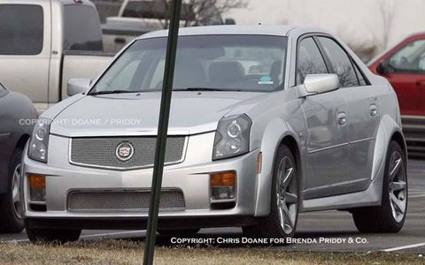 "We last encountered the CTS Super V in testing at the Nürburgring (""Spied: Super V!, May 31, 2004), but this one—spotted recently by an alert spy shooter—appears much closer to production-ready. We're told it's the 2007 CTS Super V, and that it is powered by a 7.0-liter 505-hp LS7 V8 lifted directly from the Corvette Z06. The Super V also features custom bodywork, huge rear tires, larger exhaust pipes and an engine sound unlike any other CTS."